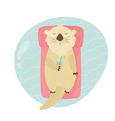 cute otter swimming in a pool on air matrass vector image
