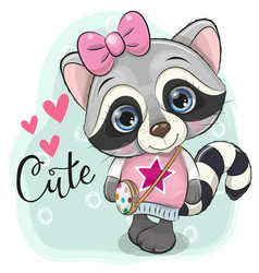 Cute raccoon with a bow on a blue background vector