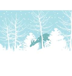 Deer walks in winter wood a vector