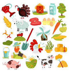 Farm elements set vector
