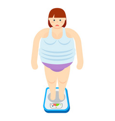 Fat woman stands on scales icon vector