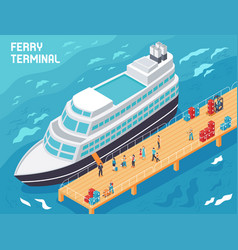 ferry terminal isometric vector image
