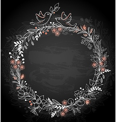 frame of flowers and birds on a black background vector image