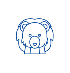 funny lion line icon concept funny lion flat vector image