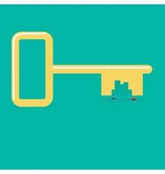 Golden key from the city Road car skyscraper vector image