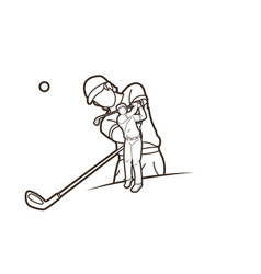 Golf players golfer action cartoon sport graphic vector