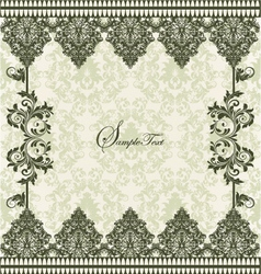 GREEN DAMASK INVITATION CARD vector image