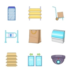 Grocery store icons set cartoon style vector