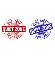 Grunge quiet zone scratched round stamp seals vector