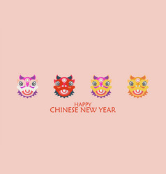happy chinese new year with dancing lions vector image