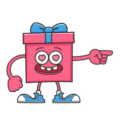 Happy valentines day gift box cartoon pointing vector