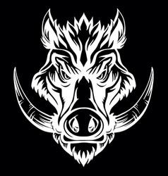 Head mascot boar isolated on black vector