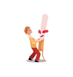 huge evil cigarette strangling suffocating a boy vector image