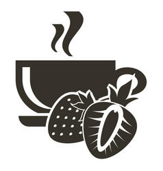 icon cup of hot tea with strawberry flavor logo vector image