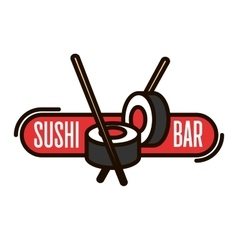 Japanese sushi with chopsticks thin line badge vector image