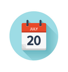 July 20 flat daily calendar icon date and vector