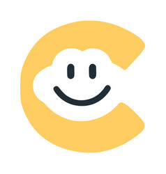 Letter c with a smile on the face character in vector