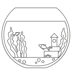Line art black and white round fish aquarium vector