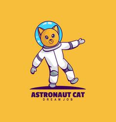 Logo astronaut cat simple mascot style vector