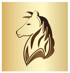 majestic horse portrait on gold background vector image