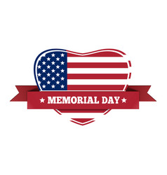 Memorial day design us flag in the shape of heart vector