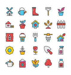 nature colored icons set 3 vector image