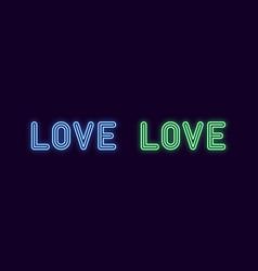 Neon inscription of love neon text vector