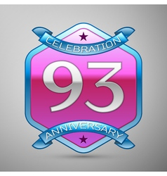Ninety three years anniversary celebration silver vector
