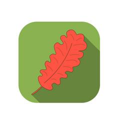 oak leaf flat icon with long shadow autumn leaf vector image