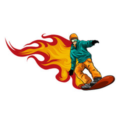passionate flaming snowboarding athlete extreme vector image