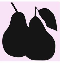 pear with leaf silhouette vector image