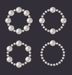 pearl beads set glamour borders on dark vector image