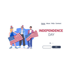 People in festive hats with usa flag celebrating vector