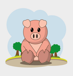 pig cartoon design vector image