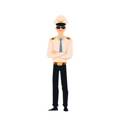 pilot or aviator in aircraft company uniform flat vector image