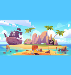 pirate buries treasure chest on island beach vector image
