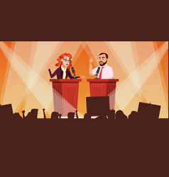 Political meeting debates concept leading vector