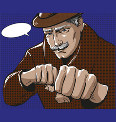 Pop art of man with punching vector