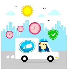 Postman Driving Van Fast and Safe vector