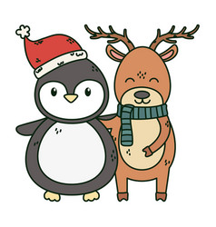 reindeer and penguin with hat celebration merry vector image