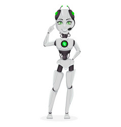 robot with artificial intelligence female bot vector image