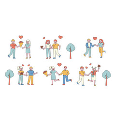 romantic couples flat line people character vector image