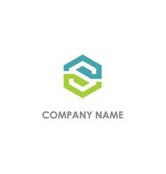 S initial polygon company logo vector