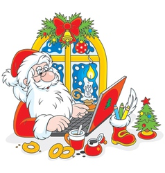 Santa Claus with his laptop vector