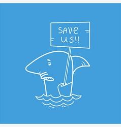 Save sharks card vector image