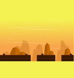 Scenery cliff at sunset game background vector