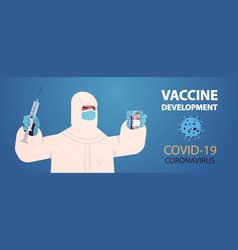 Scientist holding vial bottle with coronavirus vector