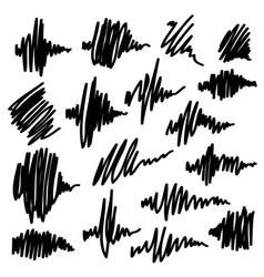 Scribble brush strokes set equalizer icons vector