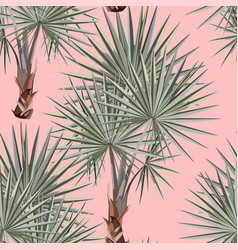 seamless silver pattern tropical leaves fan palm vector image