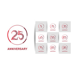 Set anniversary logotype with abstract number red vector